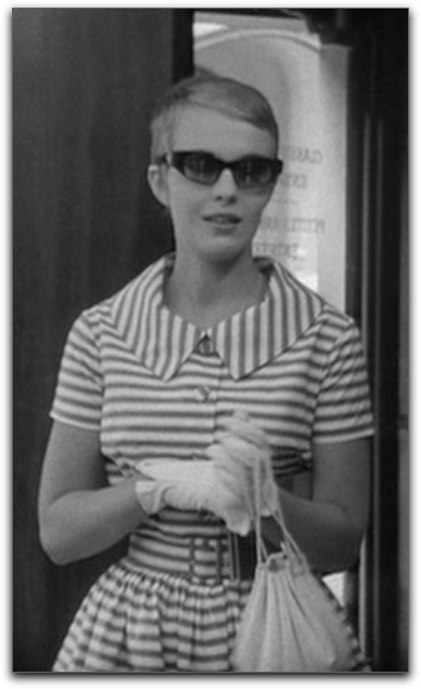 Jean Seberg Breathless gloves sunglasses dress