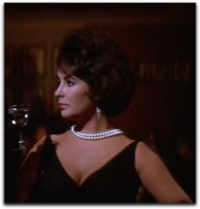 Elizabeth Taylor Butterfield 8 black dress pearls