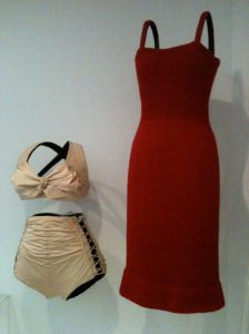 Rudy Gernreich white bathing suit red dress